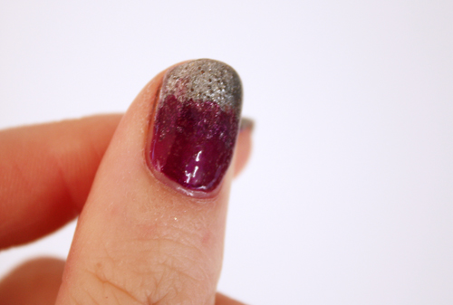 Purple & silver nail art bubbling
