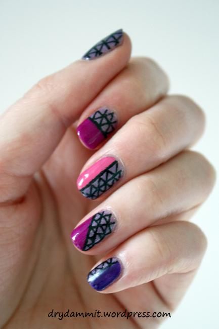 Bys Colour Change Purple Glitter Stripes Nail Art Dry Dammit