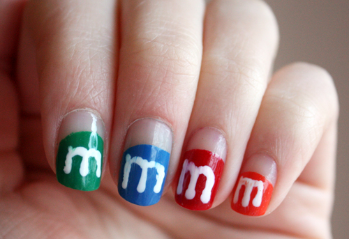 M&M's nail art for The Cuteberry Challenge day 1