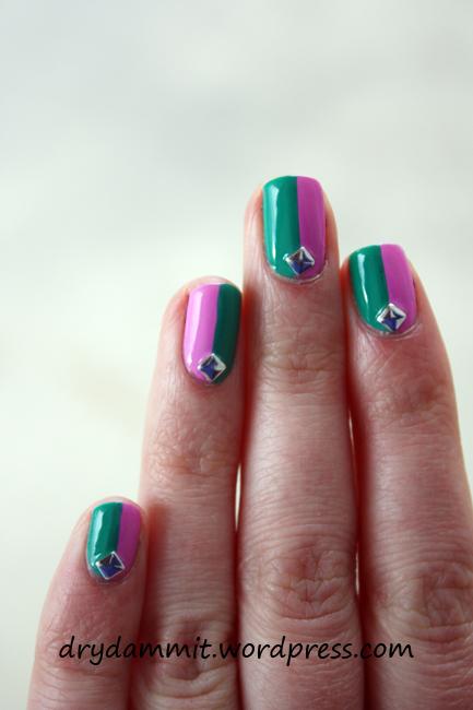 Australis K-Pop & Australis Indie colour block nail art by Dry, Dammit!