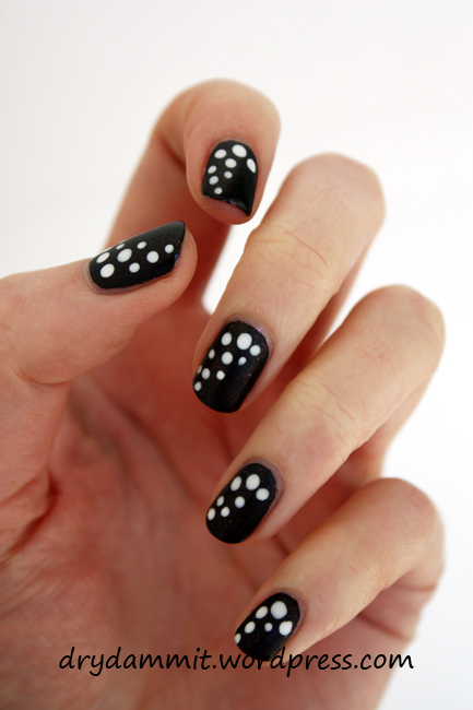 W7 Little Black Book dotted nail art by Dry, Dammit!