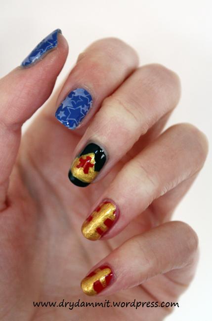 Wonder Woman nail art by Dry, Dammit!