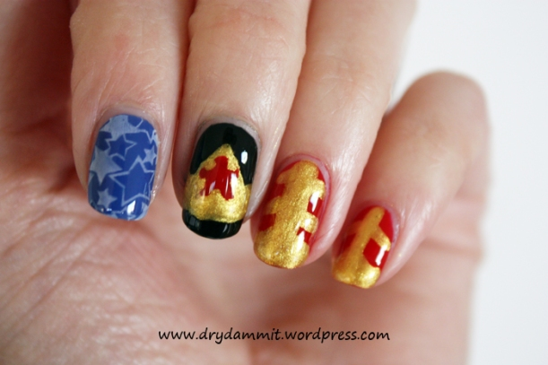 Wonder Woman nail art by Dry, Dammit!