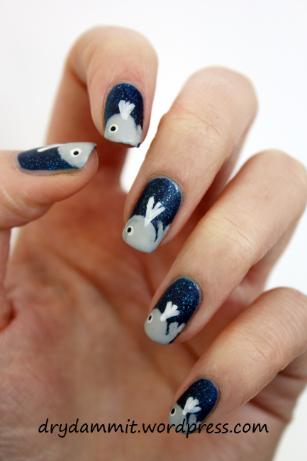 Whale nails nail art by Dry, Dammit!