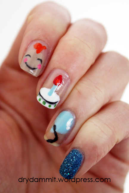 Nephew's first birthday nail art by Dry, Dammit!