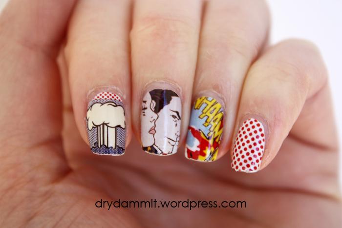 I Heart Nail Art Lichtenstein Nail Decals Dry Dammit