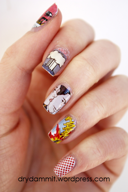 I Heart Nail Art Lichtenstein nail decals by Dry, Dammit!