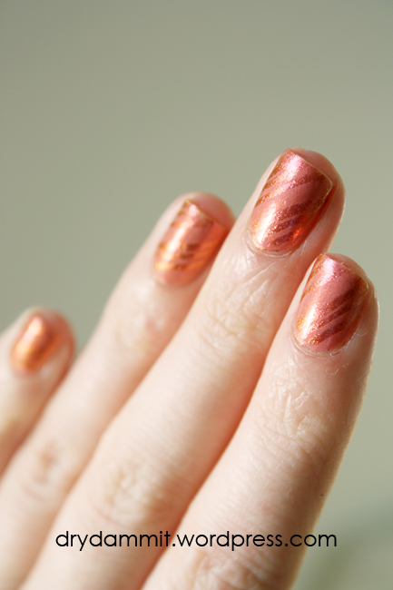 Sally Hansen Lava stamping nail art by Dry, Dammit!