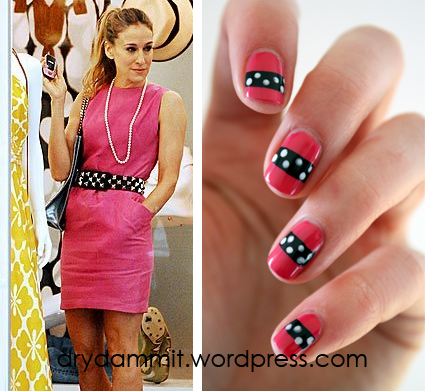 Sarah Jessica Parker / Carrie Bradshaw nail art by Dry, Dammit!
