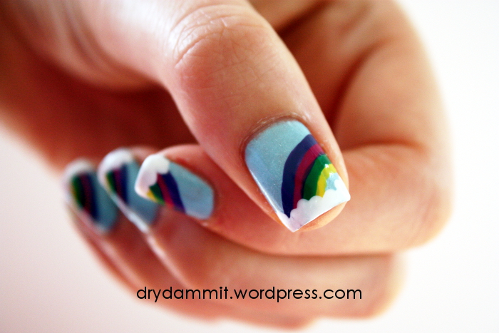 Rainbow nail art by Dry, Dammit!