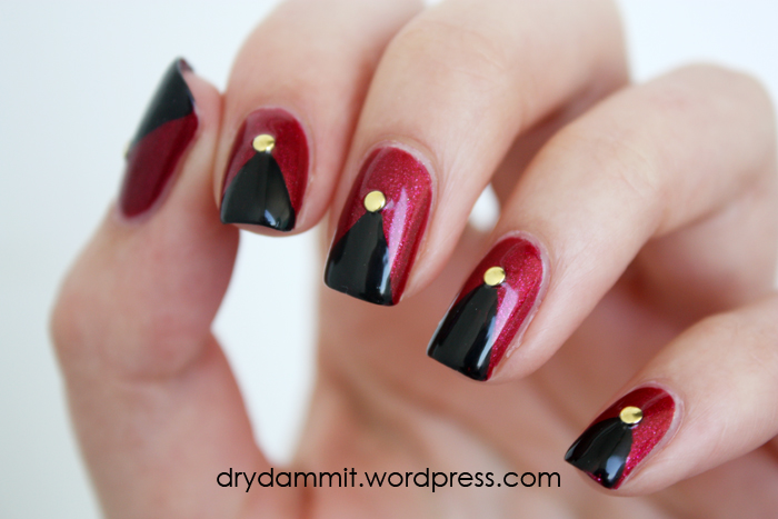 Golden Rose Matte Velvet 106 nail art with studs by Dry, Dammit!