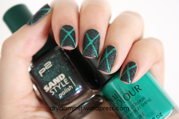 Textured Cross Nail Art With P2 Opulent Australis Indie Dry Dammit