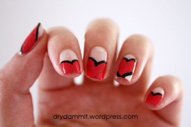 Valentine's Day nail art by Dry, Dammit!