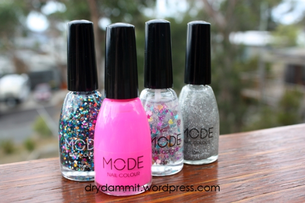 MODE polishes: (from left) Nail-Holic, Love Me, Pocket Rocket and Influential Miss by Dry, Dammit!