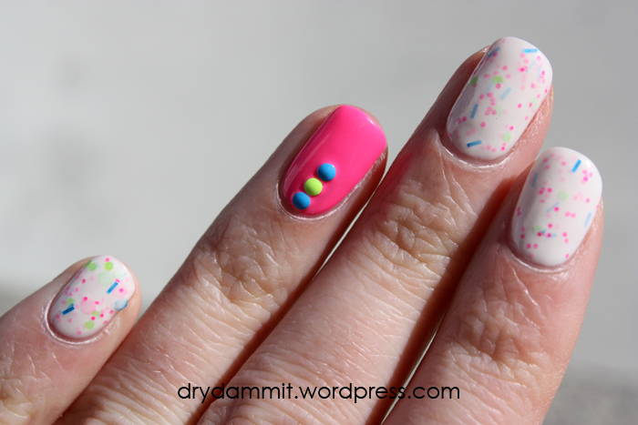 Sportsgirl Nail It! White Icing and studs nail art by Dry, Dammit!