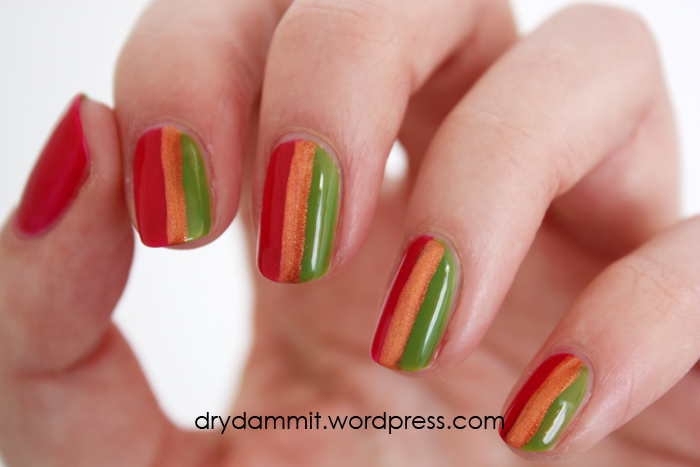 ulta3 Sunset Pink, Copper and Tahitian Lime stripes nail art by Dry, Dammit!