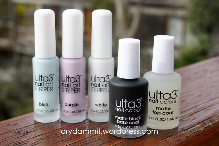 ulta3 blackboard matte polish and nail art stripers by Dry, Dammit!