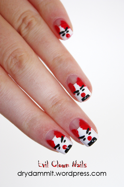 Evil clown nail art by Dry, Dammit!