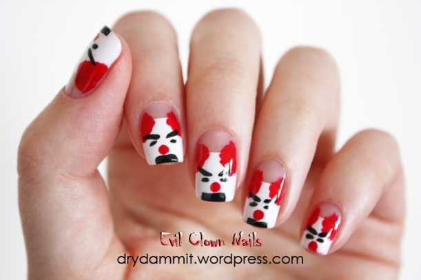 Evil clown nail art by Dry, Dammit!