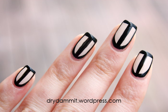 Black Nude Outline Border Nail Art Dry Dammit