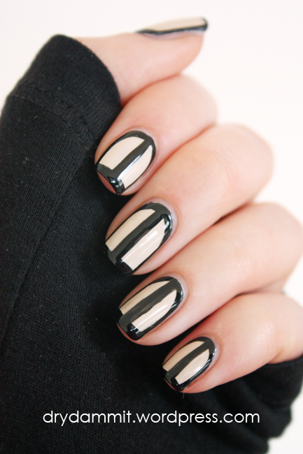 Black & nude outline / border nail art by Dry, Dammit!