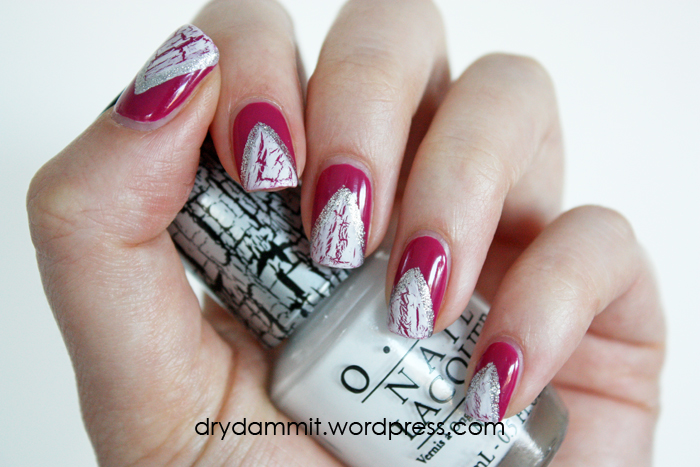 OPI White Shatter nail art by Dry, Dammit!