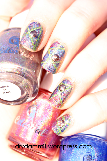 Celestial Cosmetics Iron Throne Collection holo tape and studs nail art by Dry, Dammit!