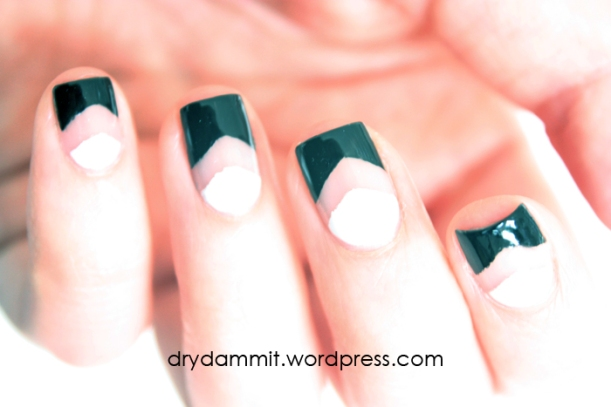 Face of Australia Miss Universe Iconic Collection negative space chevron nail art by Dry, Dammit!