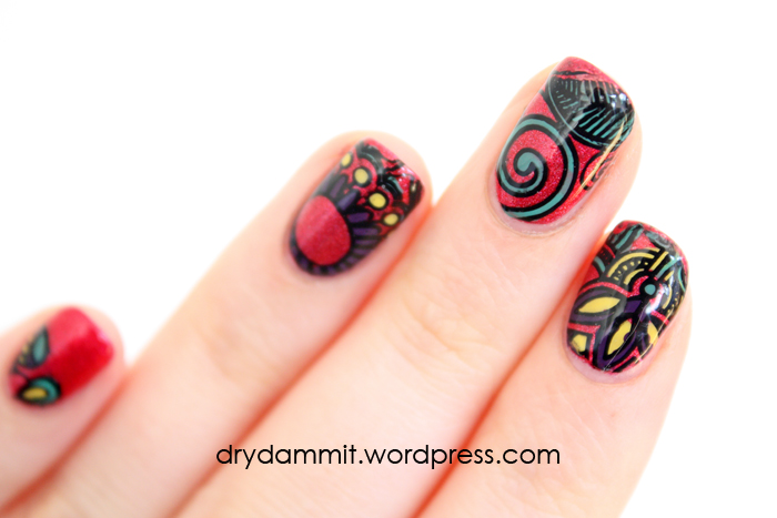 Emily de Molly The Devil's Advocate with DIY nail polish decals by Dry, Dammit!