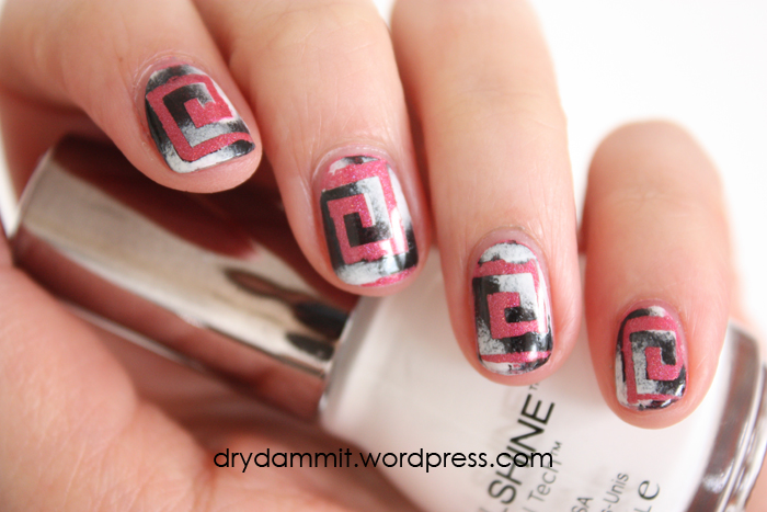 Monochrome squares nail art by Dry, Dammit!