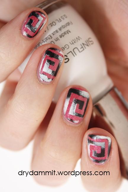 Monochrome squares nail art by Dry, Dammit!