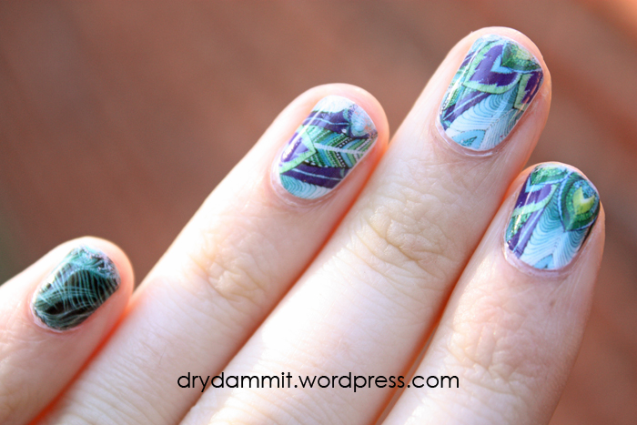 Born Pretty Store peacock water decals swatched by Dry, Dammit!