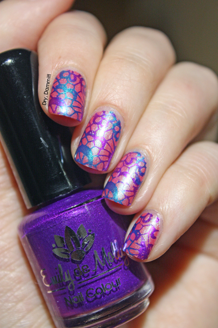 Femme Fatale Cosmetics Rose Red with Emily de Molly stamping polishes by Dry, Dammit!