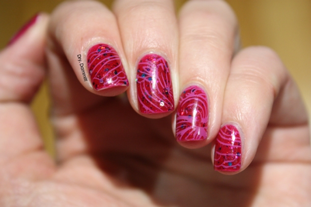 Gloss 'n Sparkle Rose Madder with stamping nail art by Dry, Dammit!