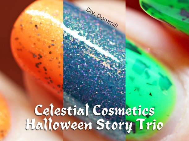Celestial Cosmetics Halloween Story Trio Collection swatched by Dry, Dammit!