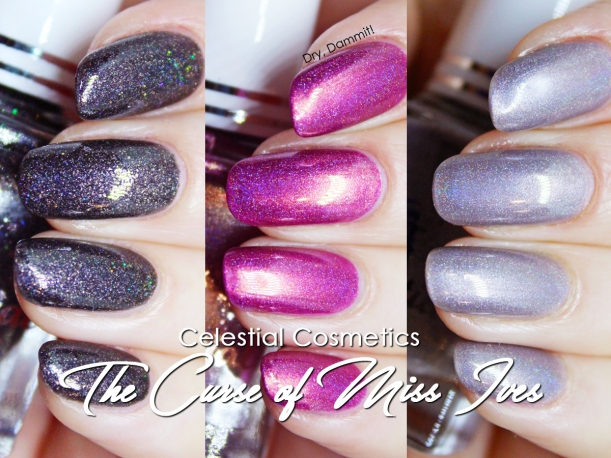 Celestial Cosmetics The Curse of Miss Ives Collection swatched by Dry, Dammit!