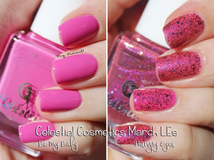 Celestial Cosmetics Be My Baby and Hungry Eyes swatched by Dry, Dammit!