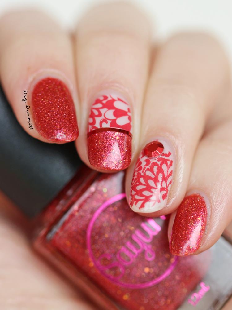 Sayuri Nail Laquer Tamu Massif with stamping nail art by Dry, Dammit!