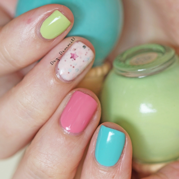 Close up of colourful ice cream nails